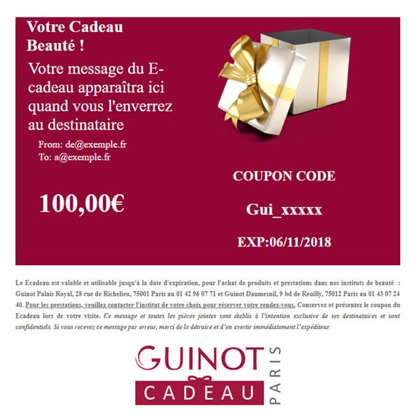 Ecadeau Guinot – La Carte Cadeau à Offrir